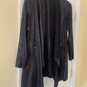 Long black leather cardigan